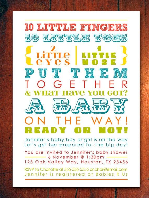 colorful baby shower invitation words gender neutral printable digital file