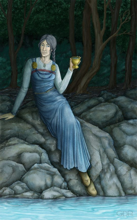 """The Norse goddess Saga is associated with the wisdom, who dwells in Sokvabek (Old Norse: [sɔkːwabekːr]; """"sunken bank"""", """"sunken bench"""", or """"treasure bank""""). . Odin visits her daily, he merrily drink as cool waves flow."""