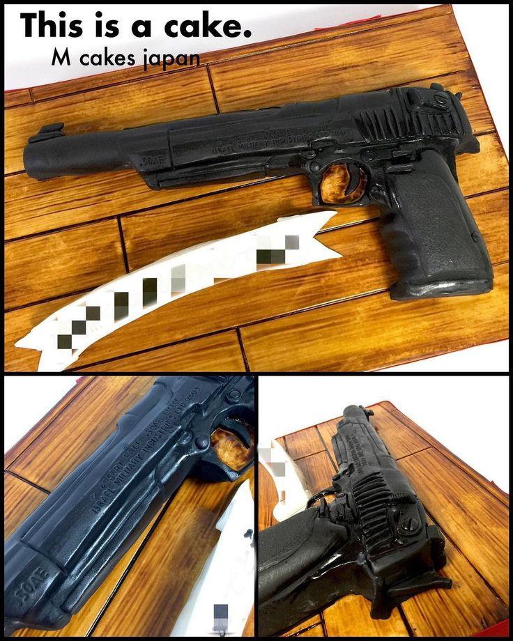 モデルガン 「デザートイーグル10インチバレル」型 擬態系ケーキ🎂 #モデルガン #デザートイーグル #鉄砲 #ハンドガン #ミリタリー #誕生日ケーキ #趣味 #modelgun #gun #deserteagle #guncake #handgun #cake #torte #gateau #alledible #🇯🇵