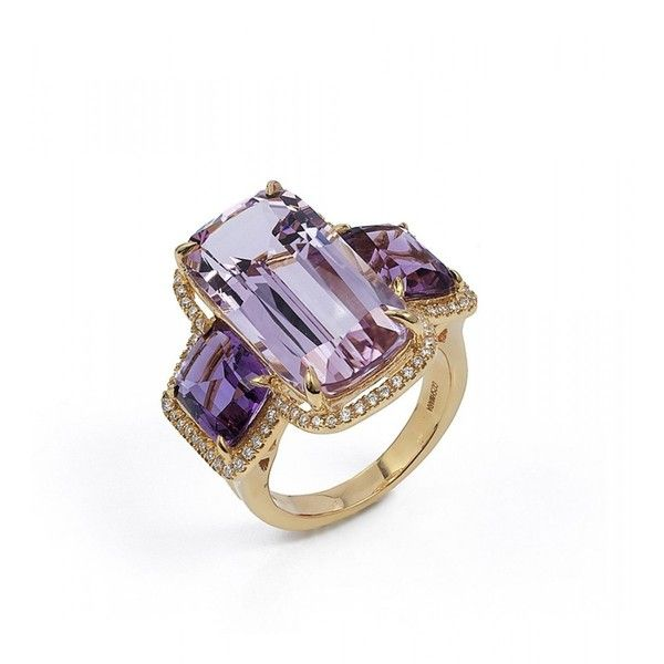 Gossip Amethyst Lavender 3 Stone Rings ($5,200) ❤ liked on Polyvore featuring jewelry, rings, lavender amethyst ring, three stone ring, amethyst jewelry, amethyst stone ring and lavender jewelry