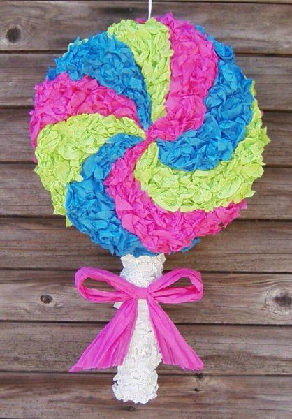 willy wonka party decorations | Adorable lollipop piñata, perfect for a baby shower.