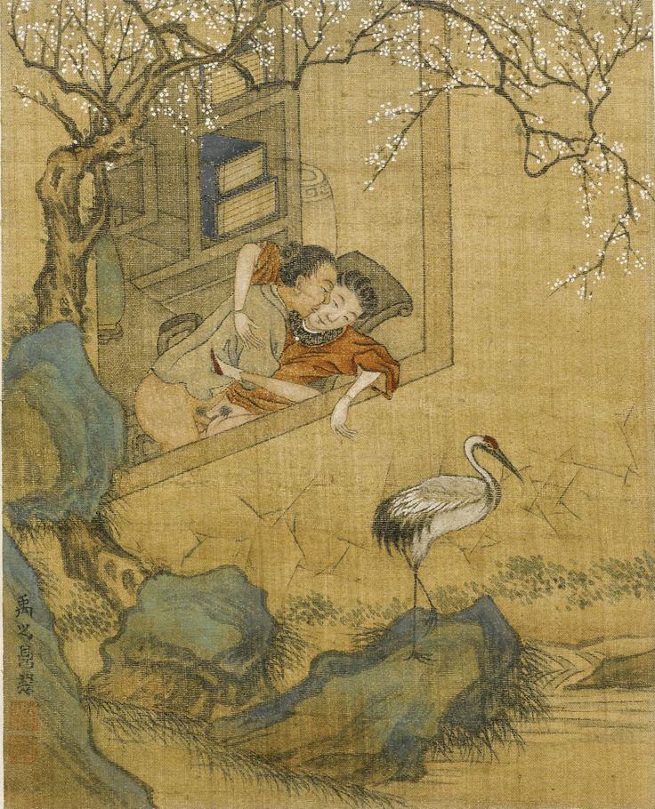 Ink and colour on silk, each leaf variously painted with scenes of couples engaged in amorous pursuits, signed Yu Zhiding with two seals of the artist, wood panel covers, Qing Dynasty, 18th/19th century