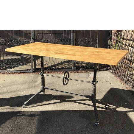 Custom Industrial Adjustable-Height Butcher Block Table #https://www.pinterest.com/munlimited/