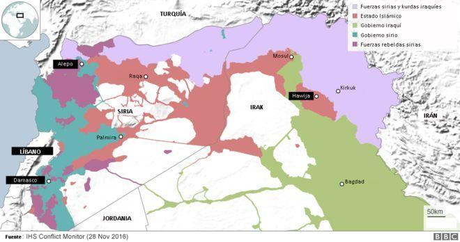 Mapa que muestra la ocupación de Estado Islámico y otras fuerzas en Medio Oriente.