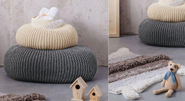 Toto coussin et pouf crocheté © Bergère de France