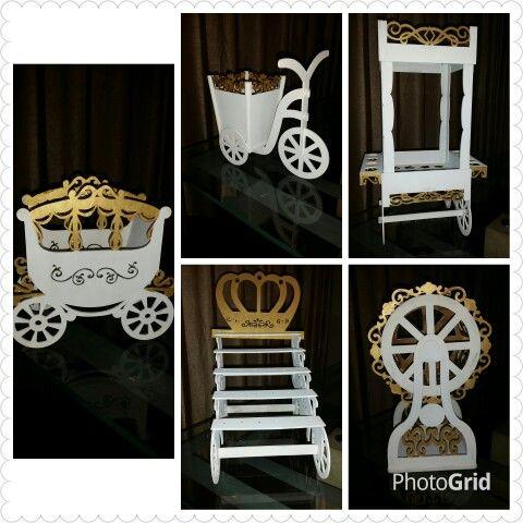 Carruaje, Chupetinera, Bicitachito, Ruleta y Mini Candy Bar... dorado-blanco... linda decoración