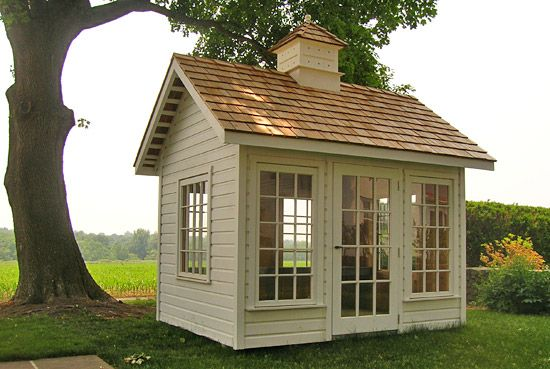 "love the windows in this garden cottage studio ""The Conservatory"" Includes 6 awning type windows & a 15-light door."
