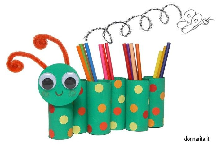 DIY Caterpillar toilet paper roll pencil holder
