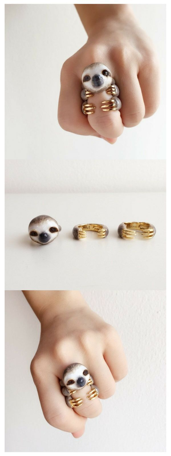 3-Teiliges Faultier Ringset / 3 Piece Sloth Ring S…