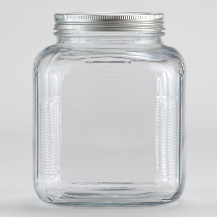 glass storage jar with aluminum lid