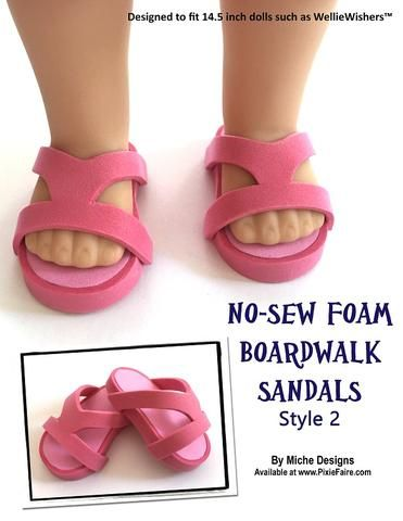 1cc1303be pdf sewing pattern no sew foam boardwalk sandals designed to fit 18 inch  American Girl dolls
