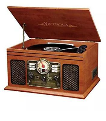 Record Player With Speakers Mahogany 6 in 1 Bluetooth Radio Classic CD Casette