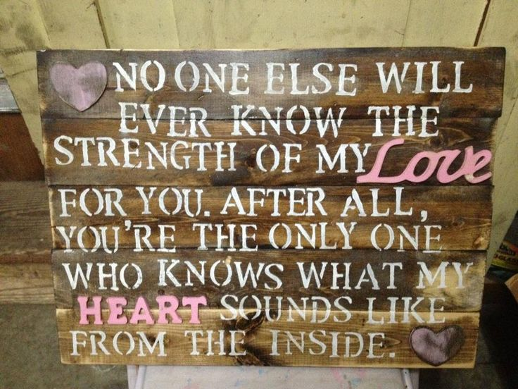 Hello best gift ever!  I can make this...      No one else will ever know the strength of my love for you- wooden sign. distressed shabby chic country. $45.00, via Etsy.
