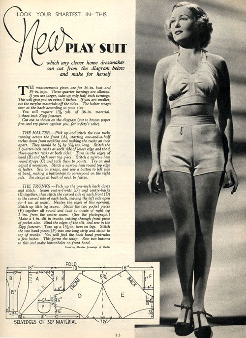 Two Piece Play Suit Sewing Pattern 1937