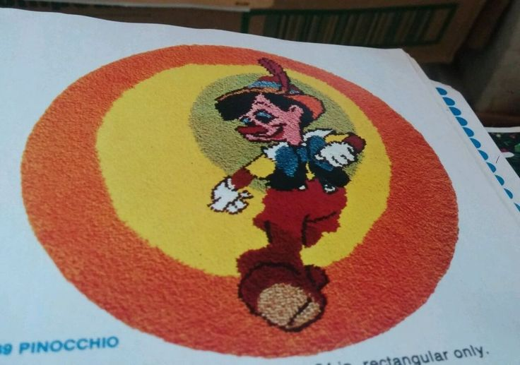 PINOCCHIO RARE SHILLCRAFT 45  ROUND RUG KIT LATCH HOOK VINTAGE 889 DISNEY