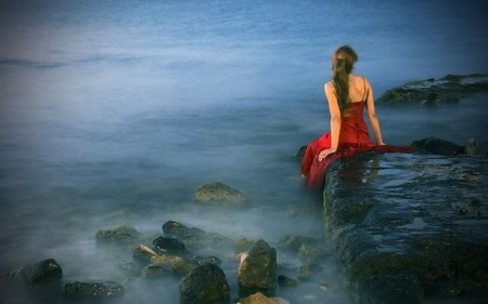 Feeling Blue - red, red dress, girl, seaside, beautiful, serene, woman, photography, love, fantasy, sad, wallpaper, blue, sea