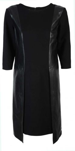 Caterina, czarna sukienka ze skórzanymi wstawkami, stylowa sukienka, elegancka sukienka, https://sklep.caterina.pl