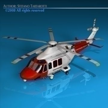 AW139 coastguard 3D Model-   Agusta Westland 139 coastguard.Only cinema4d R10 has materials and textures.Other formats zip files have enclosed some texture. But it could need some texture reassigning. The rotors of the flying one are made with alpha channel applied on a dish.alpha channels enclosed in textures.Polygons 12908Vertices 13728Side rescue winch can be removed.doors can not be opened.The AgustaWestland AW139 is a 15-seat medium sized twin-engined helicopter manufactured by…