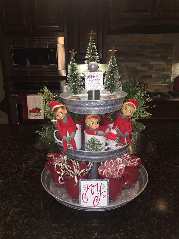 Pottery Barn 3 tier galvanized tray, Christmas decor, hot cocoa bar, vintage Christmas