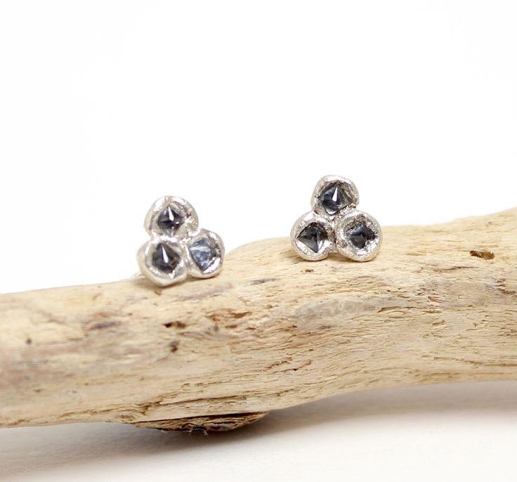 Tamara Gomez - Molten sapphire trine stud earrings, sterling silver. #sapphires