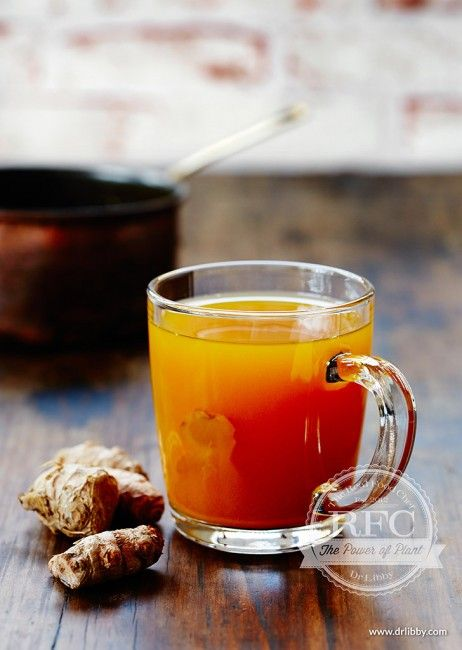 Ginger tea: boil 100g fresh ginger, 3 cups water, 1 tsp ground tumeric, pinch of salt.  Add 1/4 cup honey. (E)