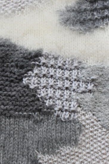 "Interesting mix of knit texture stitches. Notice how the stockinette patch pooches up, because all the garter-based segments around it work up to about the same gauge but the strockinette is ""taller"""