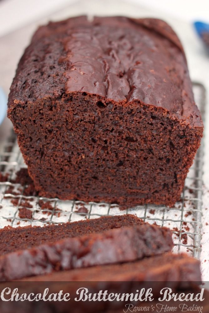 Chocolate buttermilk bread from Roxanashomebaking.com A cross between quick bread and cake, with a tangy buttermilk taste and slightly choco...