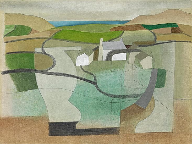 'JUNE 11 1949 (CORNISH LANDSCAPE)' | Ben Nicholson: 'one of a small group of compositions depicting farms near Halsetown, above St Ives. The building in the work is Chytodden Farm, near Towednack. An inscription written by the man who came to dominate the St Ives group in the post-war period, Patrick Heron, on the back of the composition – 'Towednack' – confirms the location of the view that Nicholson captured.'     ✫ღ⊰n