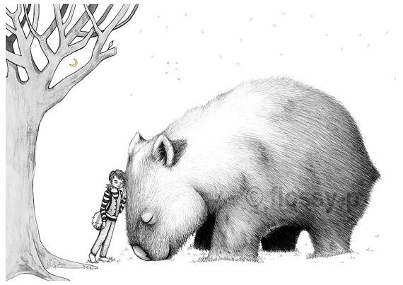 Giant Wombat & Banjo Boy Art Print. Drawing by by flossypArt, $28.00