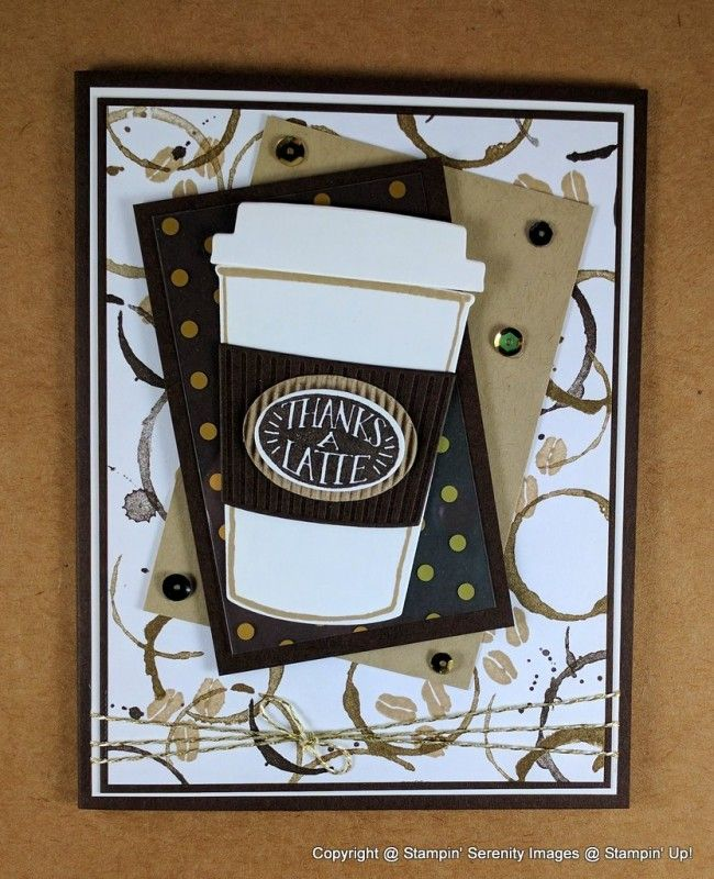 The stamp set is called Coffee Cafe' and let me tell you it is one of my must have items from the new Stampin' Up! annual catalog!!!! I also decorated the inside of this card, as it will be mailed out to a very special friend of mine who I know also harbors my love for anything coffee :) The thinlits dies that coordinate with the Coffee Cafe' Stamp Set are wonderful and one of the things I love the most about the Stampin' Up! products.