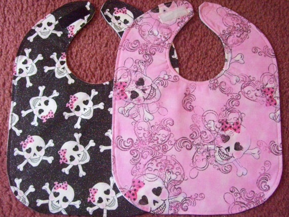 girl pirate bibs in cotton flannel
