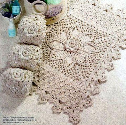 Комплект ковриков для ванной комнаты. Схема вязания крючком