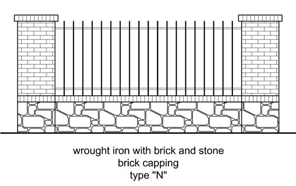42 best images about fences on pinterest wrought iron for Brick and wrought iron fence designs