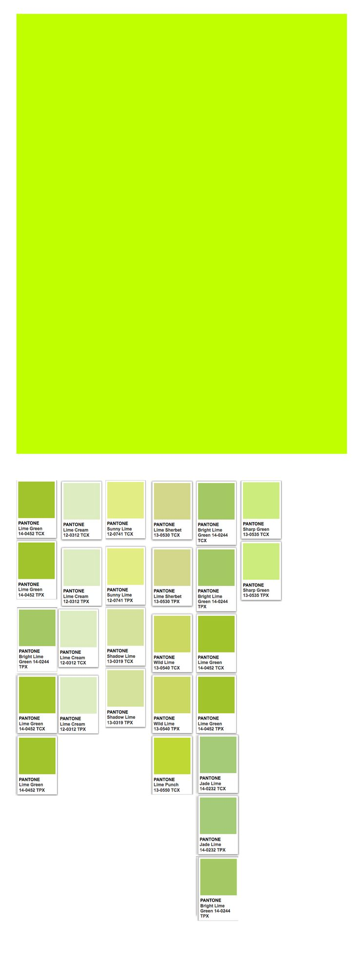 Lime (web) and related Pantone colors