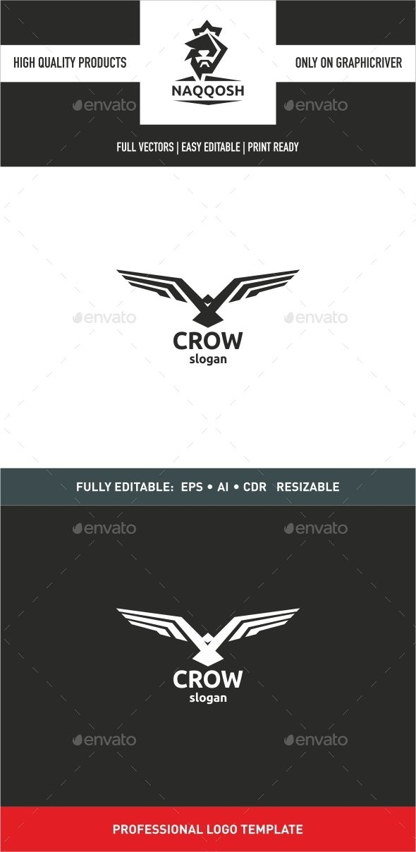 Crow — Vector EPS #hawk #hunter • Available here → https://graphicriver.net/item/crow/9991992?ref=pxcr