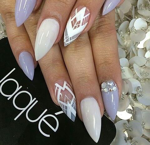 Pale purple with white pattern nails