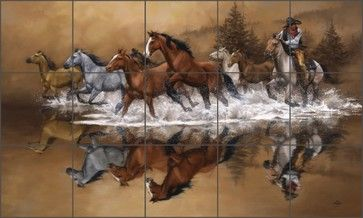 "Sorenson Western Horses Ceramic Tile Mural Backsplash 30"" x 18"" - RW-JS007 contemporary-tile"