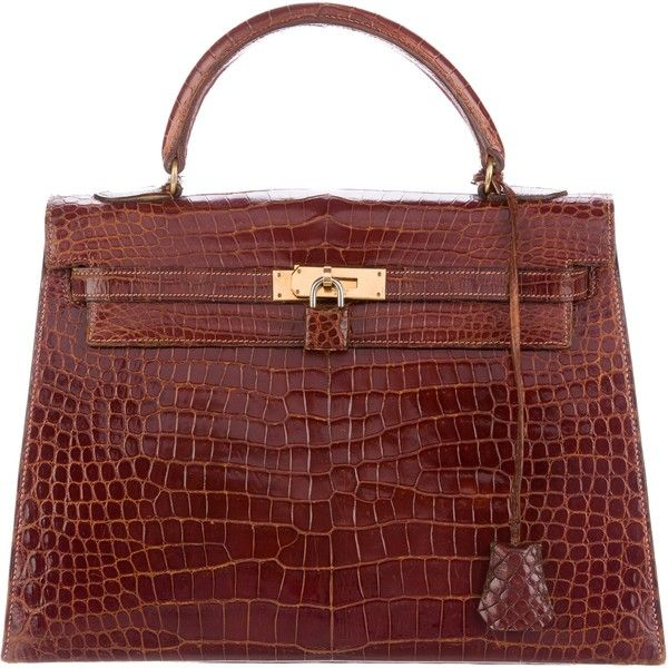Pre-owned Herm?s Crocodile Kelly Sellier 32 (148.774.905 IDR) ❤ liked on Polyvore featuring bags, handbags, brown, crocodile handbags, red hand bags, red crocodile purse, vintage crocodile handbags and red handbags
