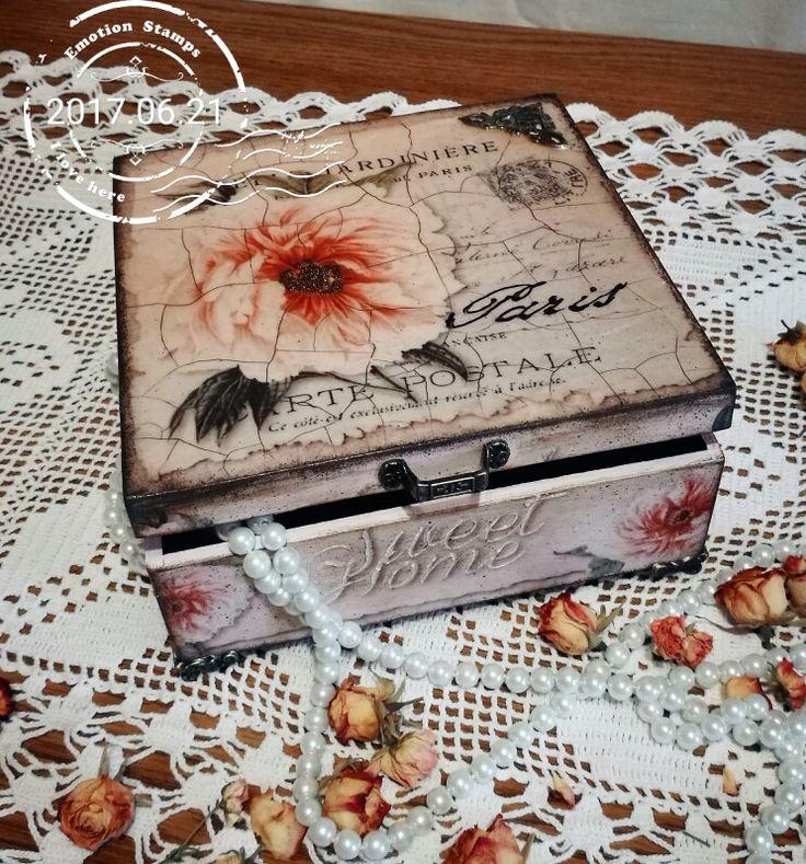 """Sweet home"", decoupage, wooden box, beautiful flower,"