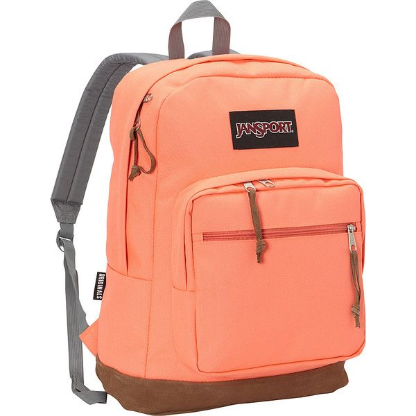 JanSport Right Pack Laptop Backpack ($60) ❤ liked on Polyvore featuring bags, backpacks, laptop backpacks, orange, jansport, jansport backpack, backpack laptop bag, red backpack and suede bag