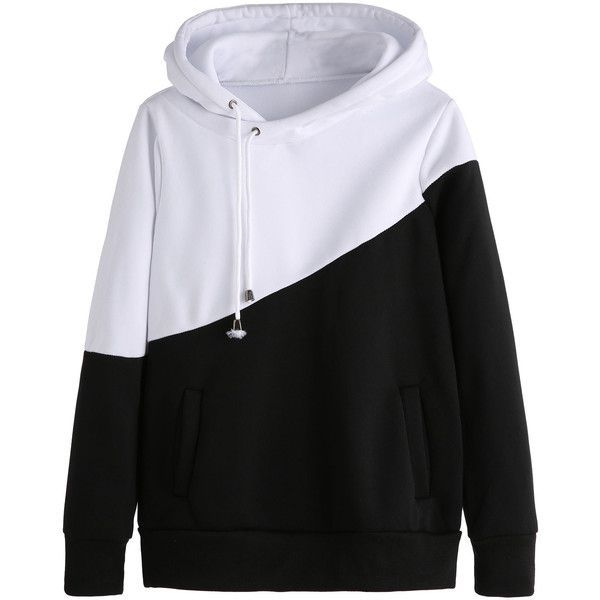 Color Block Hooded Sweatshirt With Pockets ($16) ❤ liked on Polyvore featuring tops, hoodies, black and white, pocket hoodie, hoodies pullover, long sleeve tops, long sleeve hoodies and hooded sweatshirt