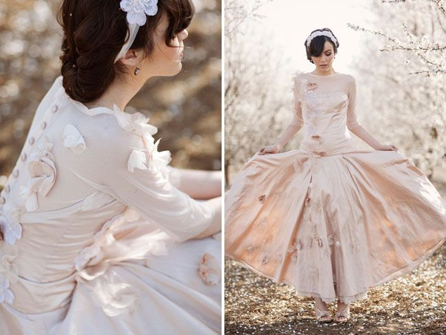 Loving this pink #weddingdress...it's a true representation of romance! From http://greenweddingshoes.com/almond-orchard-wedding-inspiration/  Photo Credit: http://thismodernromance.com/main/