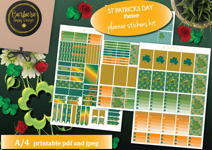 St Patrick's Day Planner Stickers Printable, March Kit, HAPPY PLANNER, Monthly/Weekly Kit,Planner kit, Happy Planner kit, Green, Orange di BarbaraHappyDesign su Etsy
