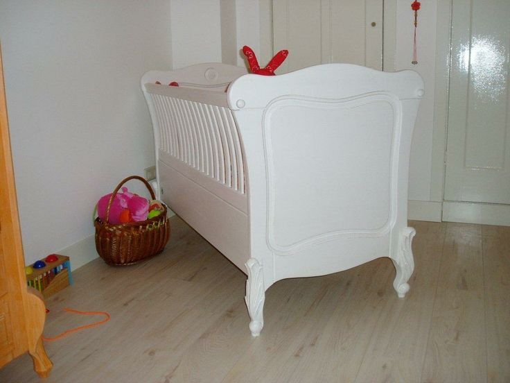 Our cot from the Louise and the Moon series. Have a close look at the curved bars.  Each item is unique and 100% hand made.