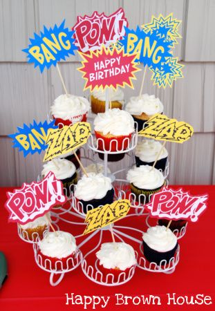 superhero cupcakes using free printable cupcake toppers