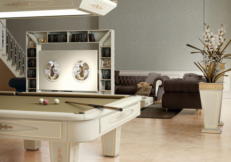 A perfect solution for your living room, with Vismara Pool Table and Revolving Tv Stand that allows the 360 degrees rotation of tv!! #vismaradesign #luxuryfurniture #luxury #interiordesign #italianfurniture