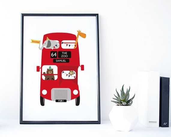 9 best babies toddlers and kids prints pictures and gifts zoo animal red bus print personalised childrens print zoo bus print london bus gifts uknew baby negle Images