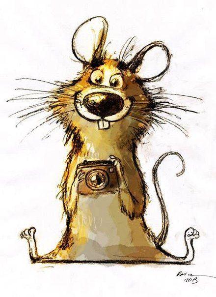 Прикольные мышь рисунок, утро открытка для