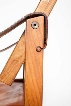 PIERRE CHAPO Leather & Wood Arm Chair detail c. 1960
