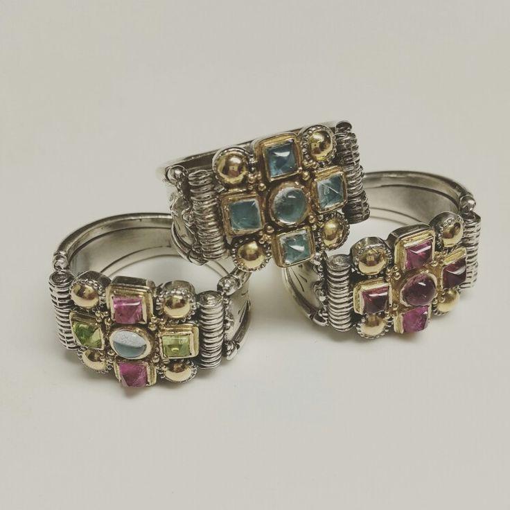 Gerochristo workshop rings cross gold 18k sterling silver pink tourmaline peridot aquamarine  Made in Greece
